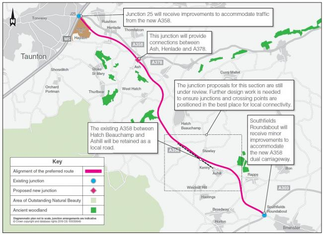 Map of Highways England planned route of £397m A358 improvements