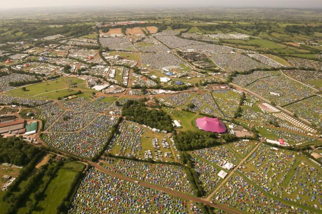 FESTIVAL DEATH: An aerial view of the Glastonbury Festival site at Worthy Farm in Somerset. Picture: Aaron Chown/PA Wire.