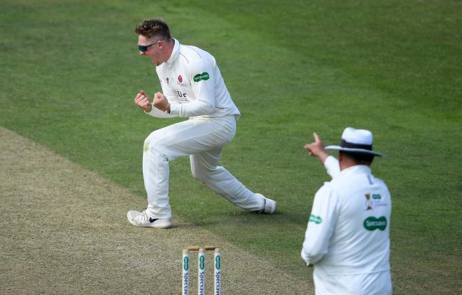Dom Bess celebrates the wicket of Rilee Rossouw against Hampshire. Pic: Alex Davidson/SCCC