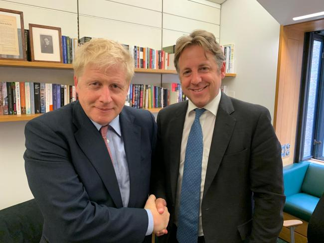 Marcus Fysh, MP for yeovil and South Somerset, pictured with PM candidate Boris Johnson