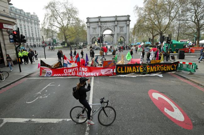 Demonstrators during an Extinction Rebellion protest in Marble Arch