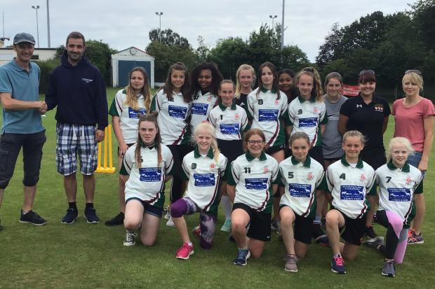 Chard CC Under-12 Girls with new shirts from sponsors Hornsbury Haylage & Animal Feeds.