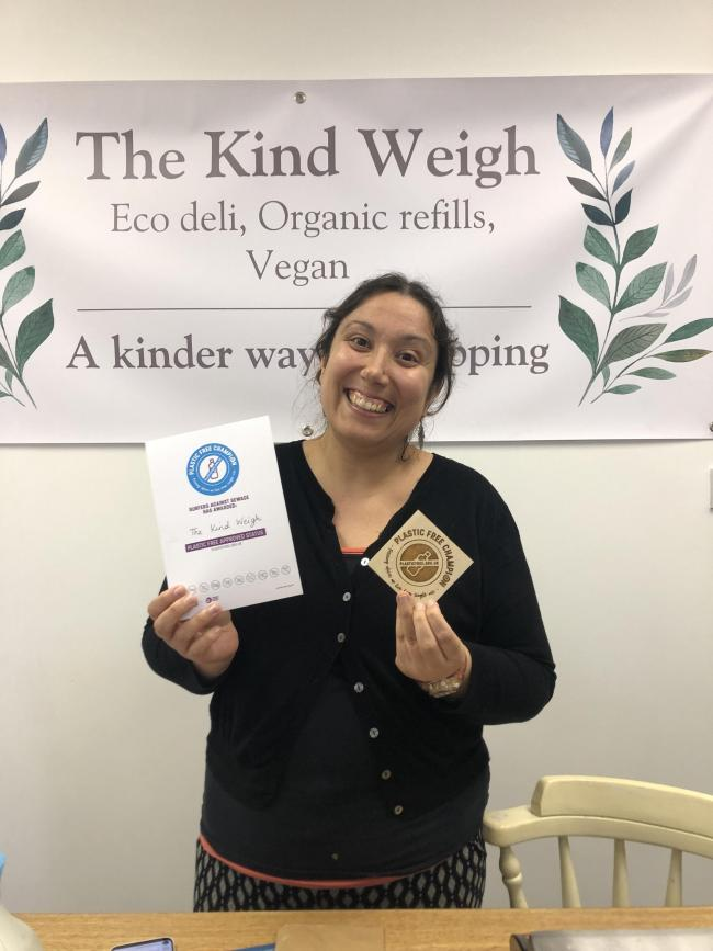CHAMPION: Marisa Bento from The Kind Weigh with her plaque