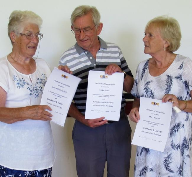HONOURED: Gwen Bird, Mike Jones and Mary Fowler
