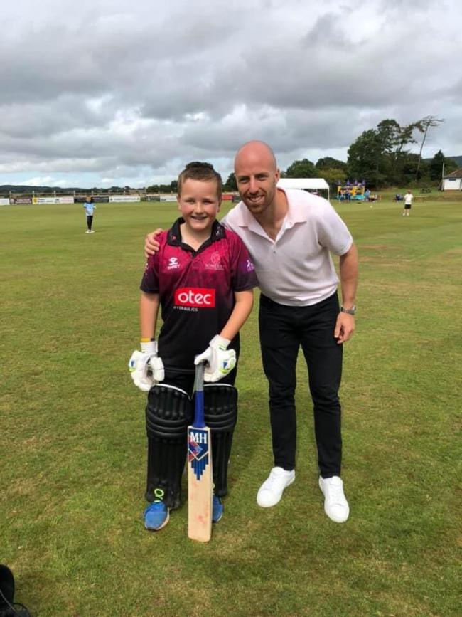 SPECIAL GUEST: Jack Leach (right) with Fin Bendle during the youngster's 100-over batting challenge for Love Musgrove