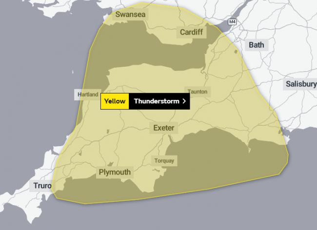 WARNING: The yellow warning covers much of the south west. PICTURE: Met Office