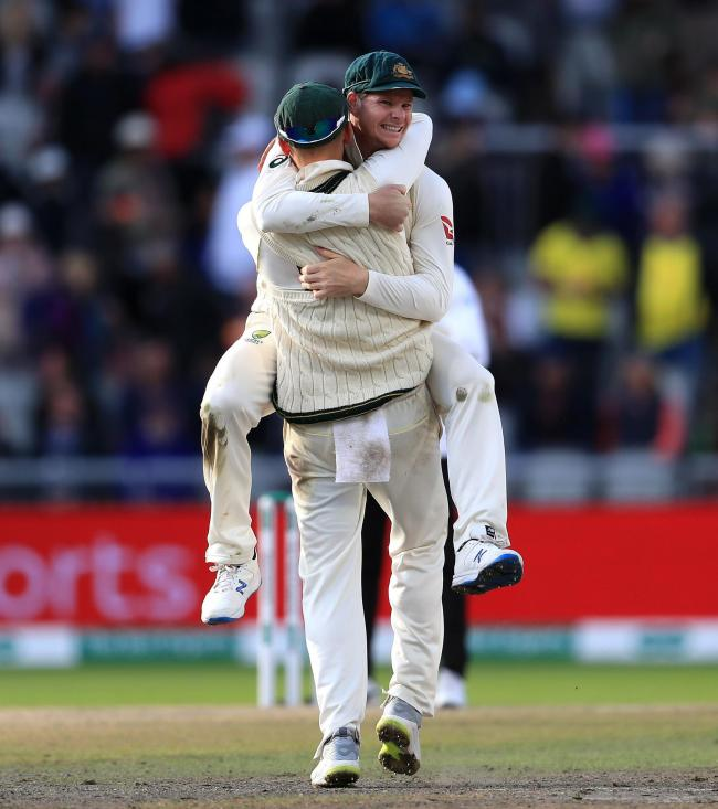 Australia's Steve Smith celebrates after Australia claimed victory to retain the Ashes during day five of the fourth Ashes Test at Emirates Old Trafford, Manchester. PA Photo. Picture date: Sunday September 8, 2019. See PA story CRICKET England. Phot