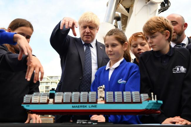 Boris Johnson with schoolchildren