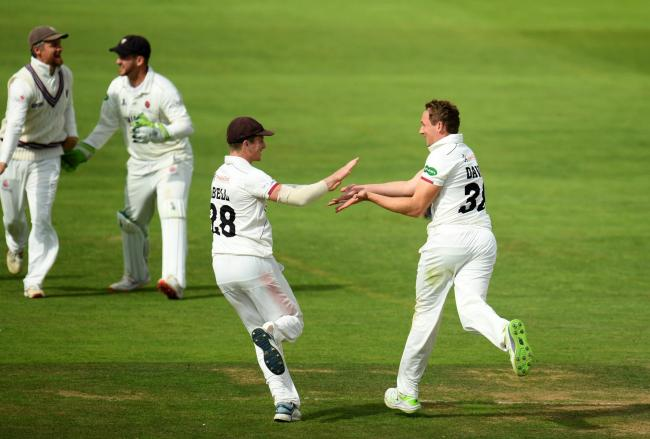 Josh Davey and Tom Abell celebrate against Yorkshire. Pic: Alex Davidson/SCCC