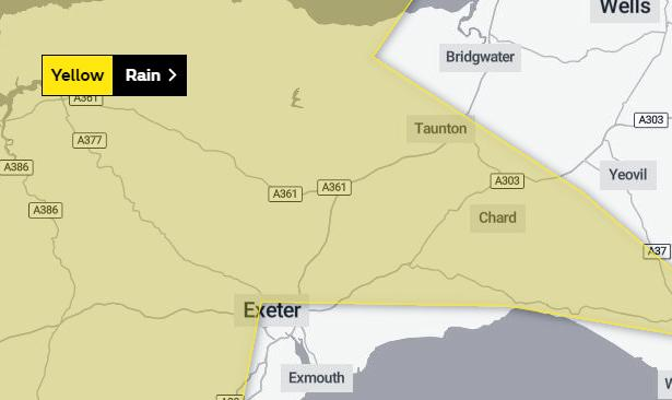 WARNING: Much of Somerset os covered by the warning from the Met Office
