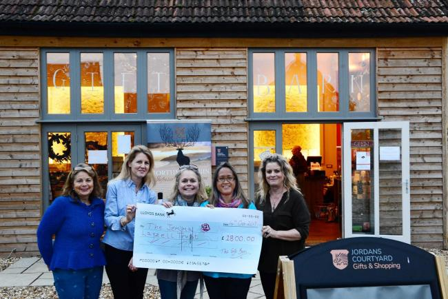 DONATION: Yvette Milliner, Marika Sterry, Caroline Speke, Sophy Layzell and Grania Coleman at the cheque handover