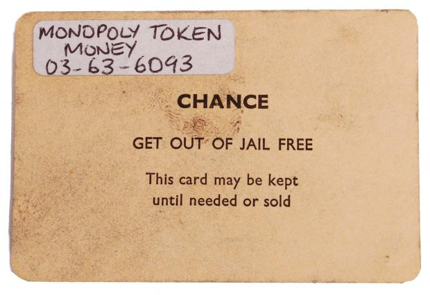 Chard & Ilminster News: CHANCE CARD: 'Get Out Of Jail' they infamously used in a game of Monopoly by the Great Train Robbers. Picture: SWNS