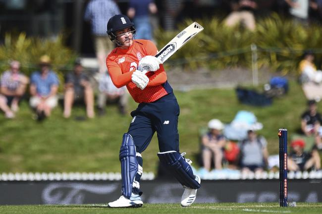 England's Tom Banton is out bowled during the third Twenty20 international cricket match against New Zealand at Saxton Oval, in Nelson, New Zealand, Tuesday, Nov. 5, 2019. (Chris Symes/Photosport).