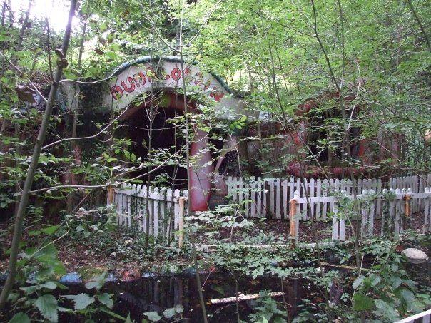 THE entrance to Mr Blobby's home is barely visible through overgrown trees.