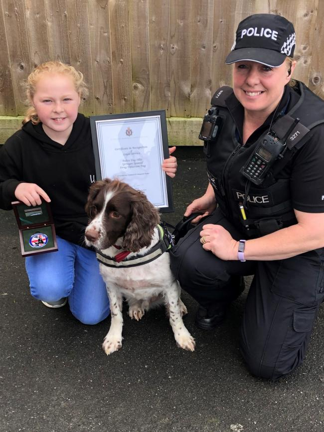 Louise Grabham with daughter Esmee and retired PD Ollie