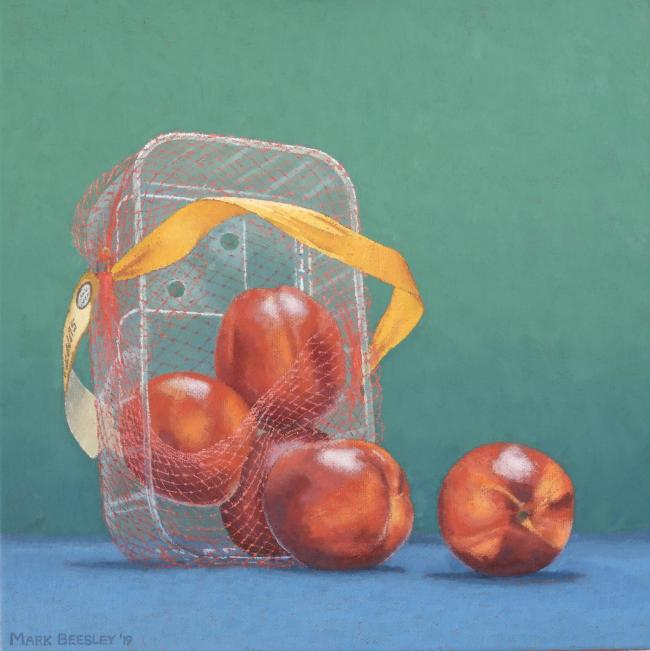 Still Life with Nectarines, oil on canvas, Mark Beesley