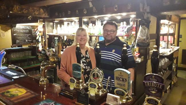 STRONG START: Sarah and Phil Taylor have enjoyed a successful first three months behind the bar at the Windwhistle Inn, in Cricket St Thomas