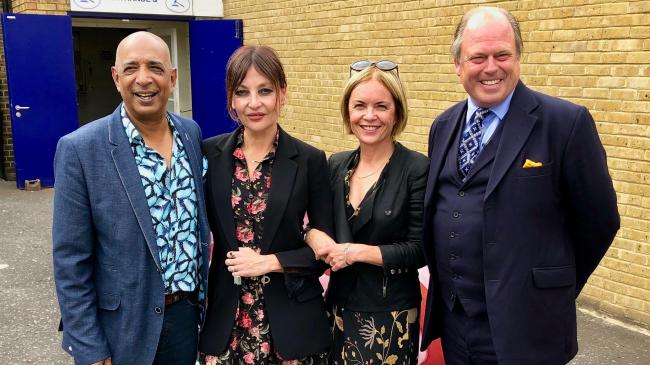 SOMERSET ROAD TRIP: Pearl Lowe and Mariella Frostrup with antiques experts Raj Bisram and James Braxton. PICTURE: BBC/STV