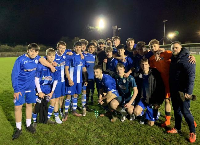 SPECTATOR: David Beckham with Clevedon Town Under-18s. PICTURE: @ClevedonTownFC/Dave Carey