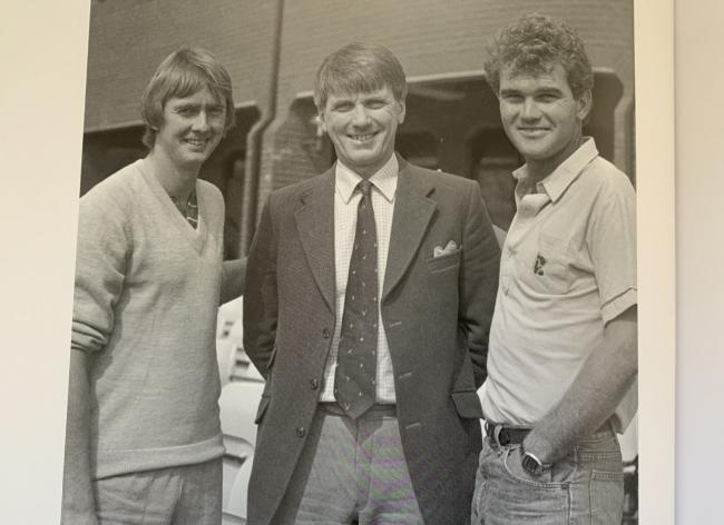 SAD LOSS: Tony Brown (centre), pictured with New Zealand and Somerset cricketer Martin Crowe (right) and Sussex fast bowler Tony Pigott. Pic: Alain Lockyer