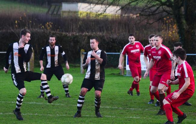 GOING UP: Middlezoy Rovers Reserves (black/white kit) are moving to Division 1 (pic: Steve Richardson)