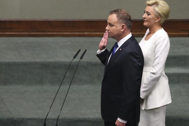 Poland's conservative President Andrzej Duda being sworn in