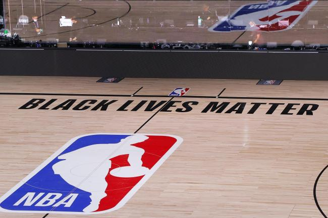 A Black Lives Matter slogan on an NBA court