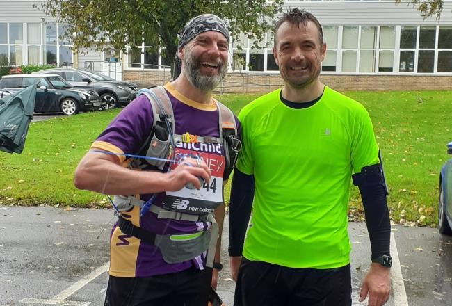 Carl Winch and Rob Treacher after their makeshift marathon