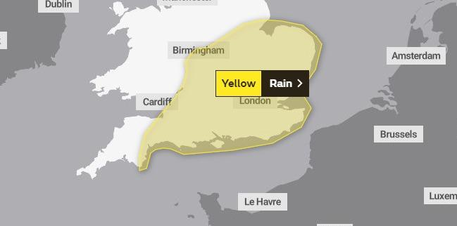WEATHER WARNING: A yellow weather warning for rain is in place for Somerset tomorrow