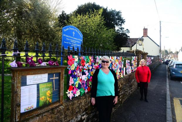 Chard & Ilminster News: Janet Gage and Sue Helliker at the Parish Church of St Nicholas, Combe St Nicholas