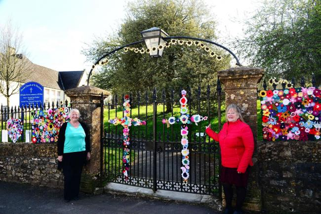Janet Gage and Sue Helliker at the Parish Church of St Nicholas, Combe St Nicholas