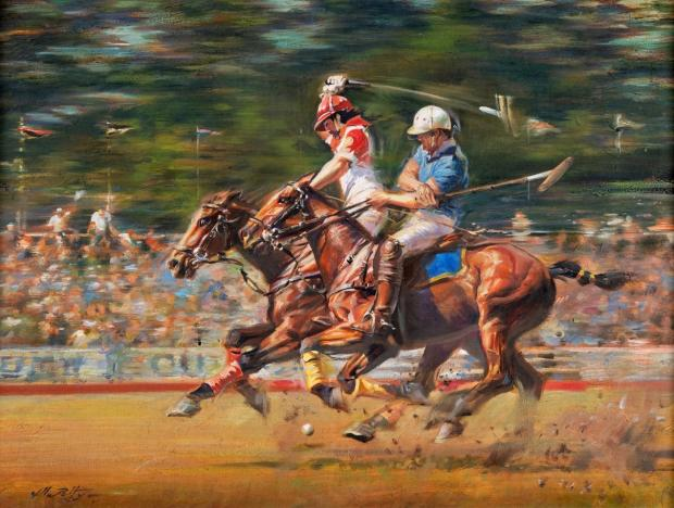 Chard & Ilminster News: LOT: William Petty's Polo Fury, oil on canvas - £ 300- £ 500