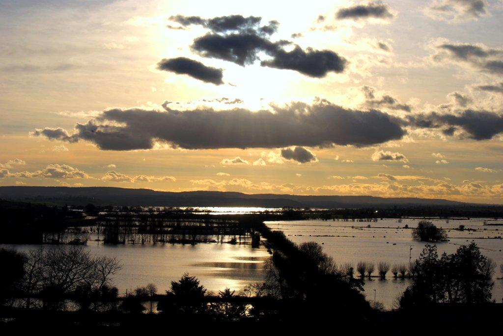 Winter Floods on the Somerset Levels - a view from Burrow Mump.