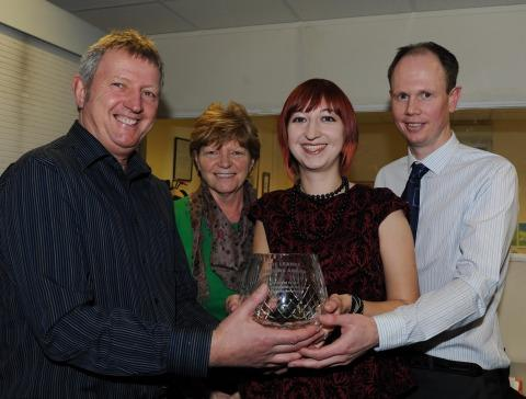 Cedric Gibbons, Lesley Gibbons, reporter Kirsty James and Newsquest Somerset editor Alex Cameron.