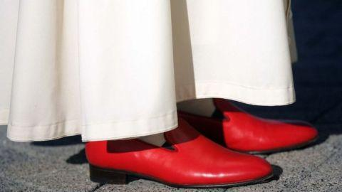 The iconic red shoes worn by the Pope.
