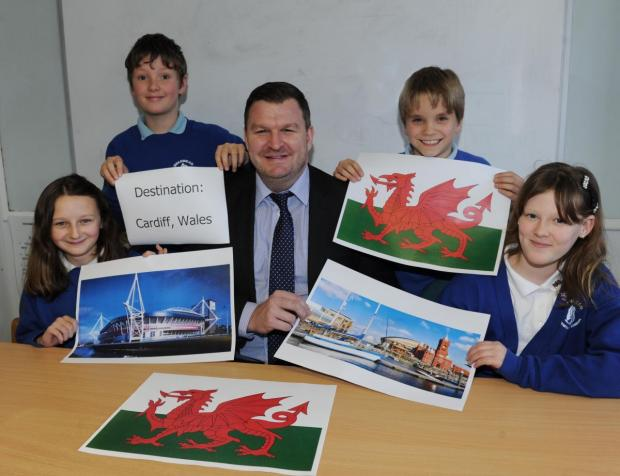 HEAD teacher Mark Walker and Year 6 pupils Emily Dugdale, Erin Male, James Dicker and Wilf Hunt.