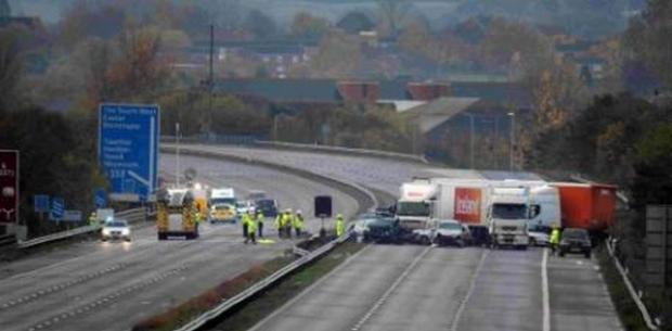 Chard & Ilminster News: The scene on the M5 the morning after the horrific crash in November 2011.