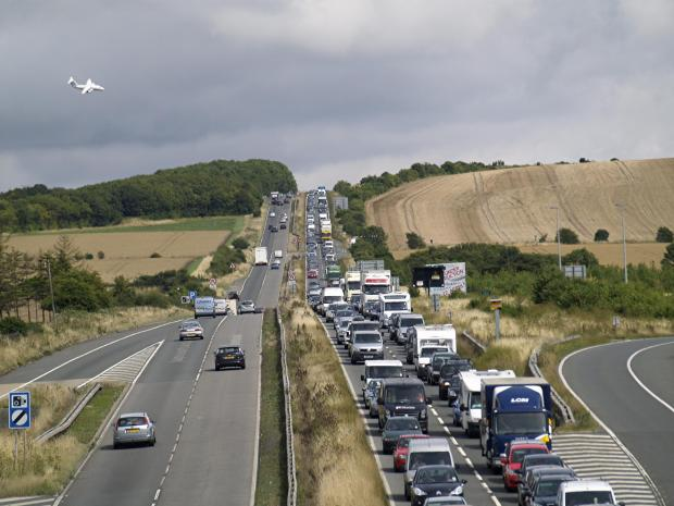 Queues on the A303 at Beacon Hill.