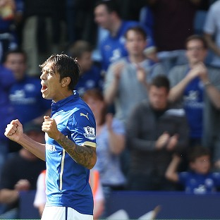 Leonardo Ulloa celebrates the equaliser