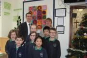 EXECUTIVE head Andrea Rice and head of the school Gerard Rourke with pupils.
