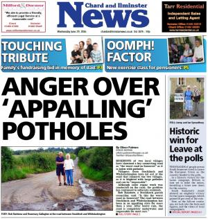 Chard & Ilminster News: Is this the worst road in Somerset? Villagers' fury at pothole laden lane from Stocklinch to Whitelackington
