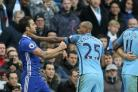 Chelsea's Cesc Fabregas, left, was involved in a confrontation with Manchester City midfielder Fernandinho
