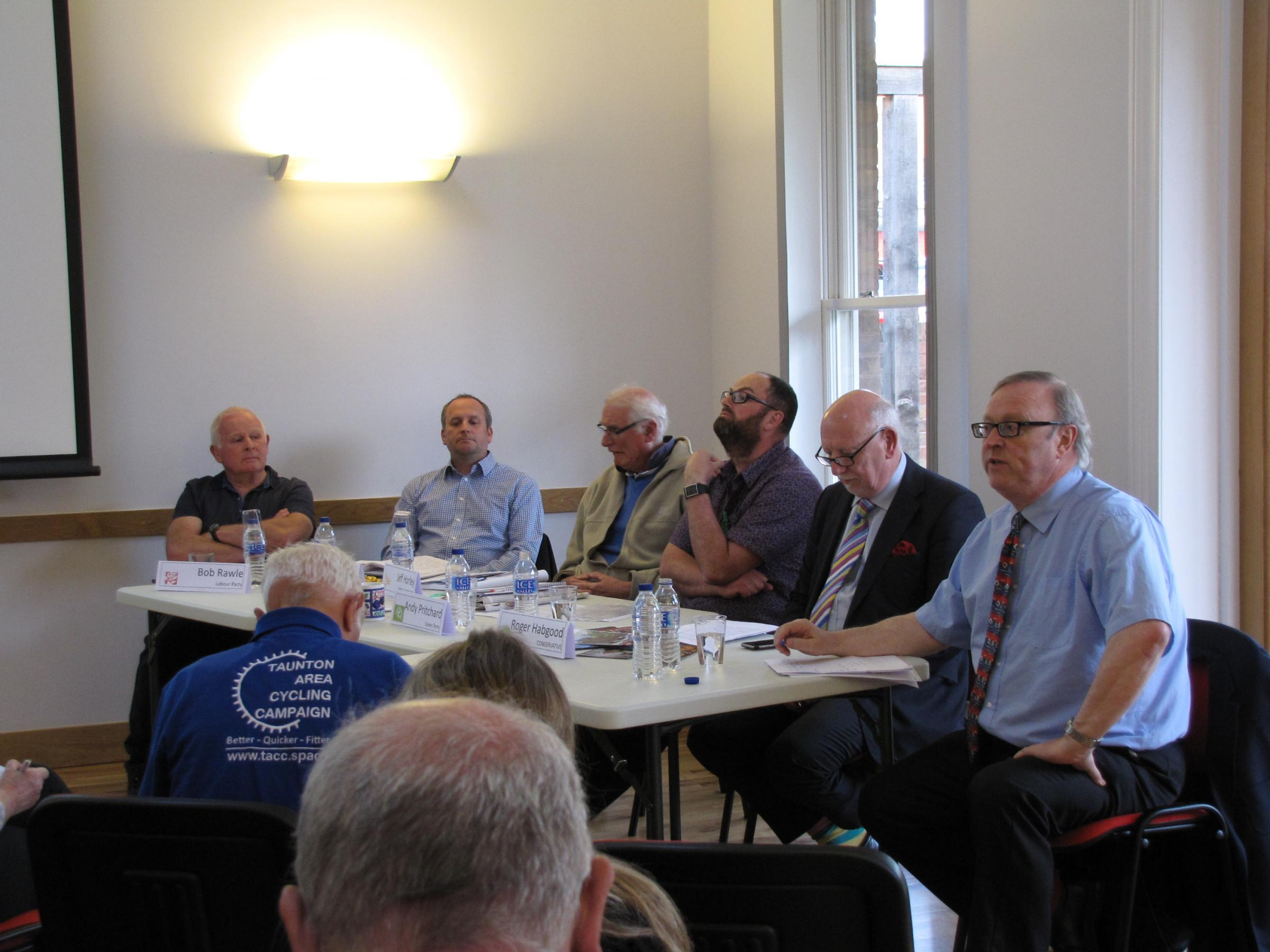 QUESTIONS: County council hopefuls took part in a special hustings event organised by the Taunton Area Cycling Campaign