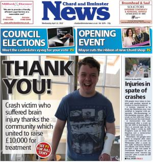 Chard & Ilminster News: THANK YOU: A303 crash victim's thanks after £10,000 raised for brain injury treatment