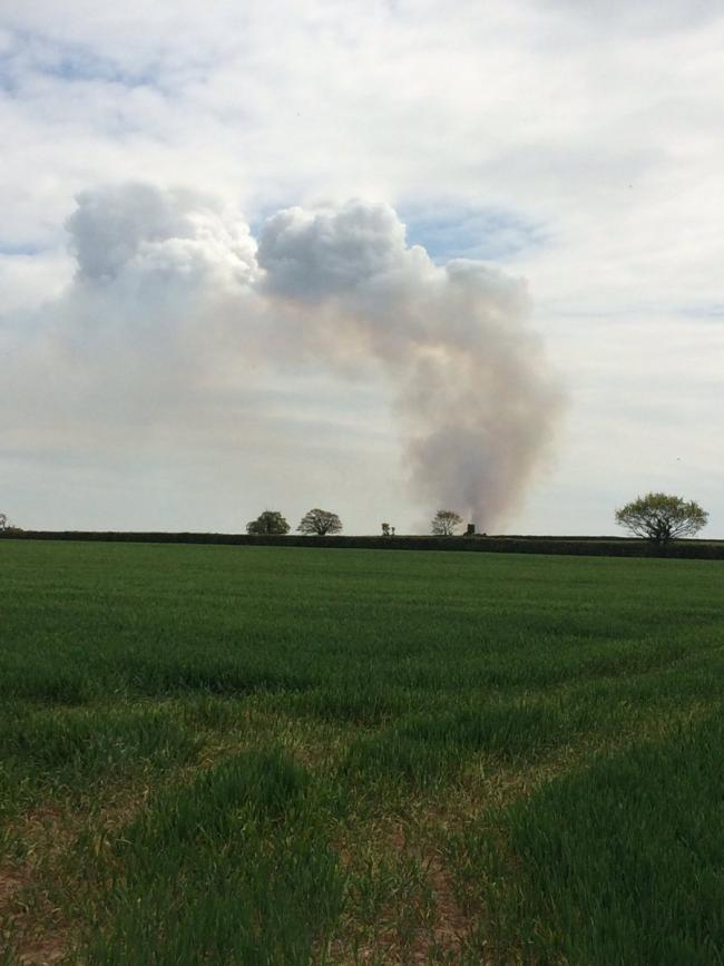 FIRE: Smoke can be seen for miles across Devon and Somerset after a huge fire at Wookey Common. Credit: The Met Office