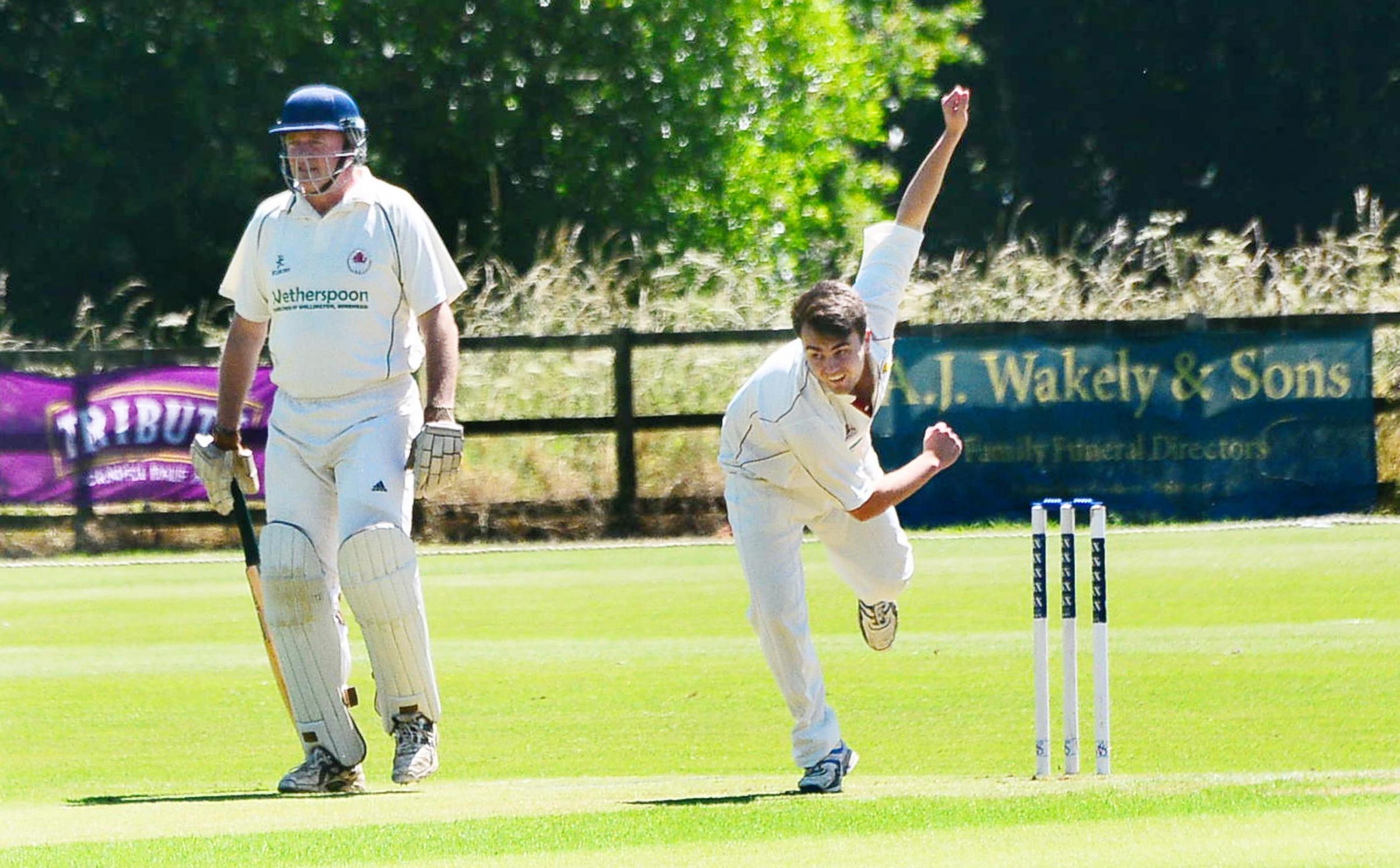 BEATEN: North Perrott bowler Joshua Marshall-James took 2-20 but could not prevent the hosts losing their first match of the season in the league on Saturday, Minehead winning by 64 runs. Pic: Steve Richardson