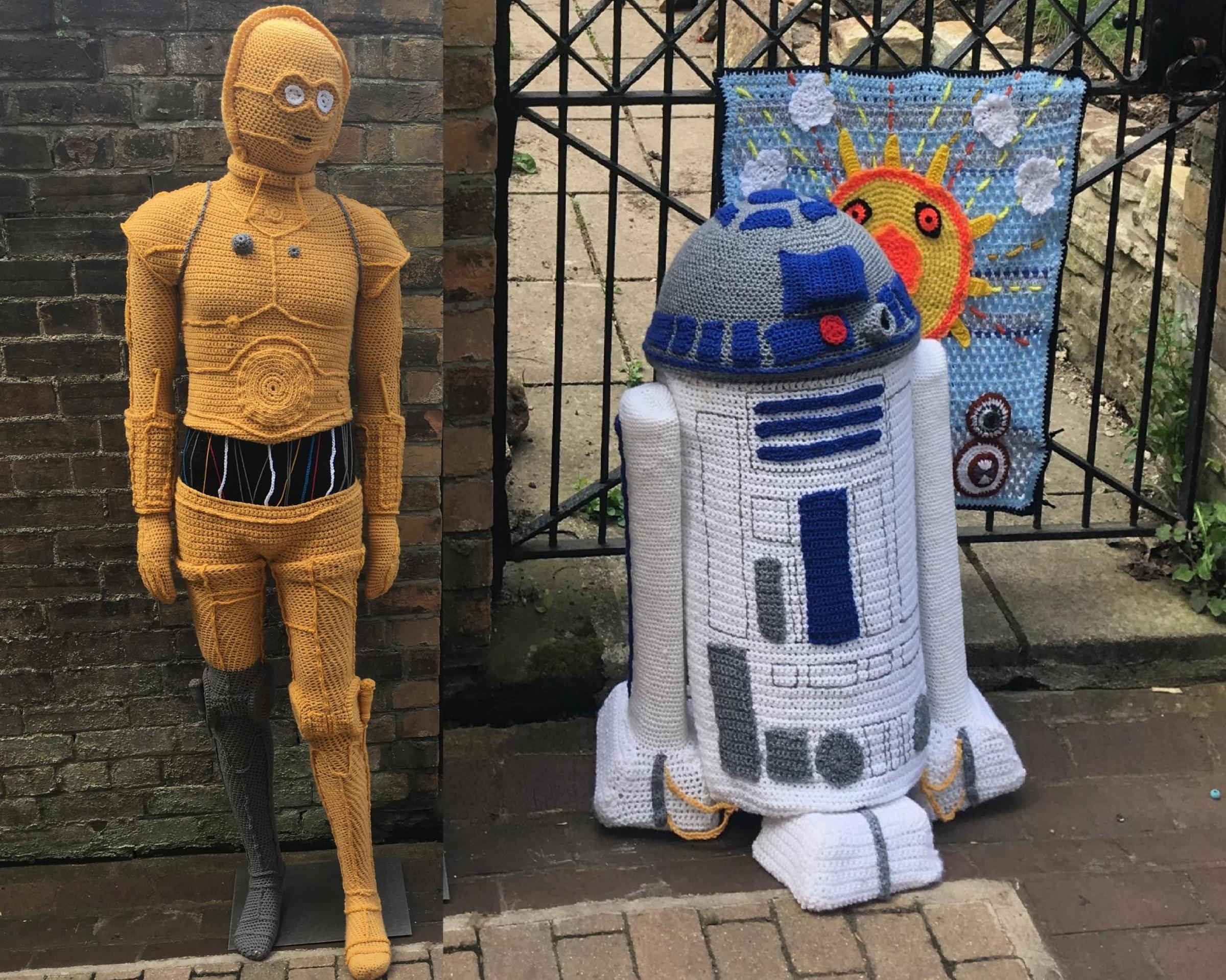 YARN WARS:C-3PO and R2D2 stand proudly in Bath Place, Taunton
