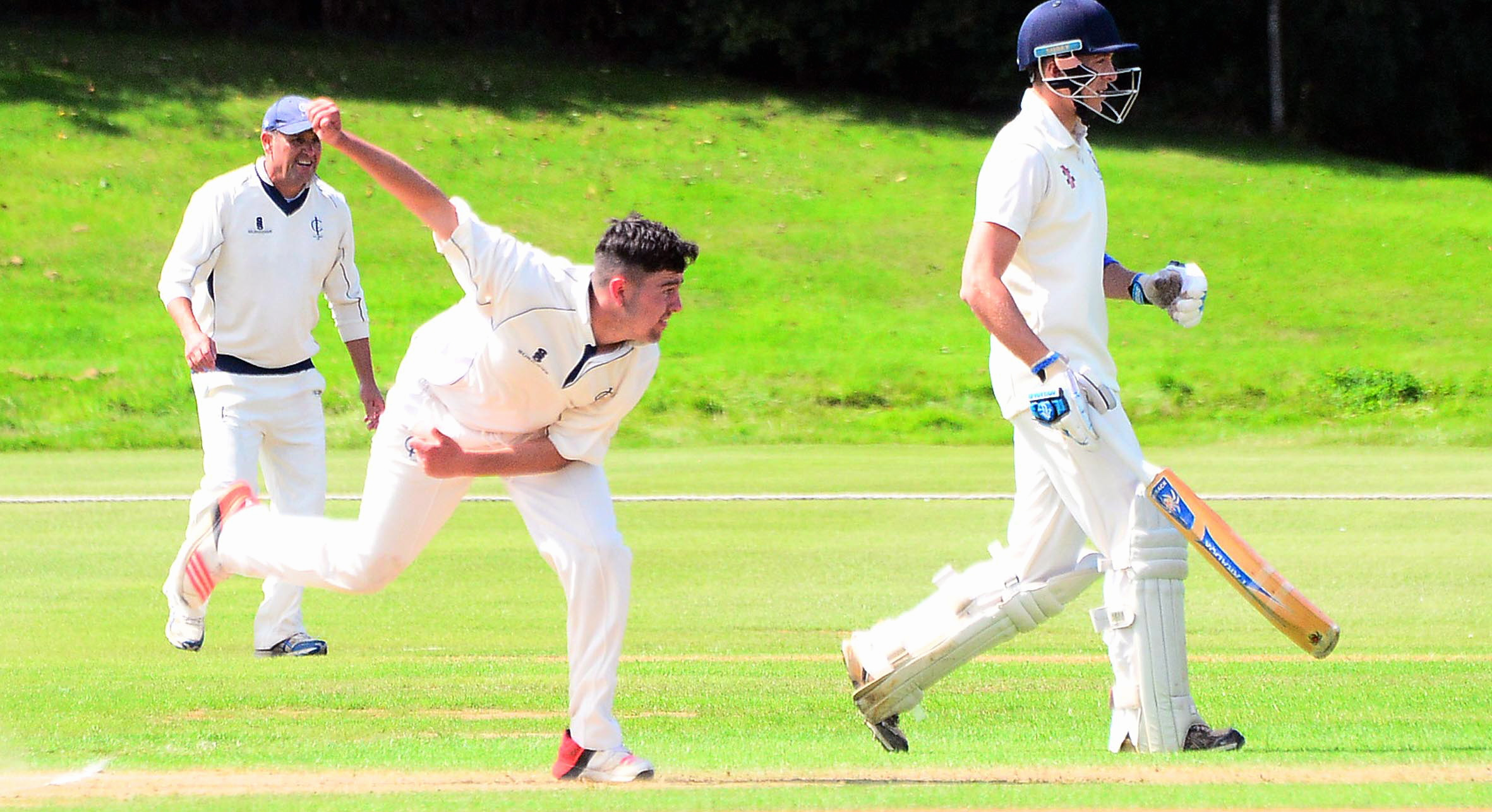 THREE WICKETS: Sam Grinter in action for Ilminster against Taunton on Saturday. Pic: Steve Richardson