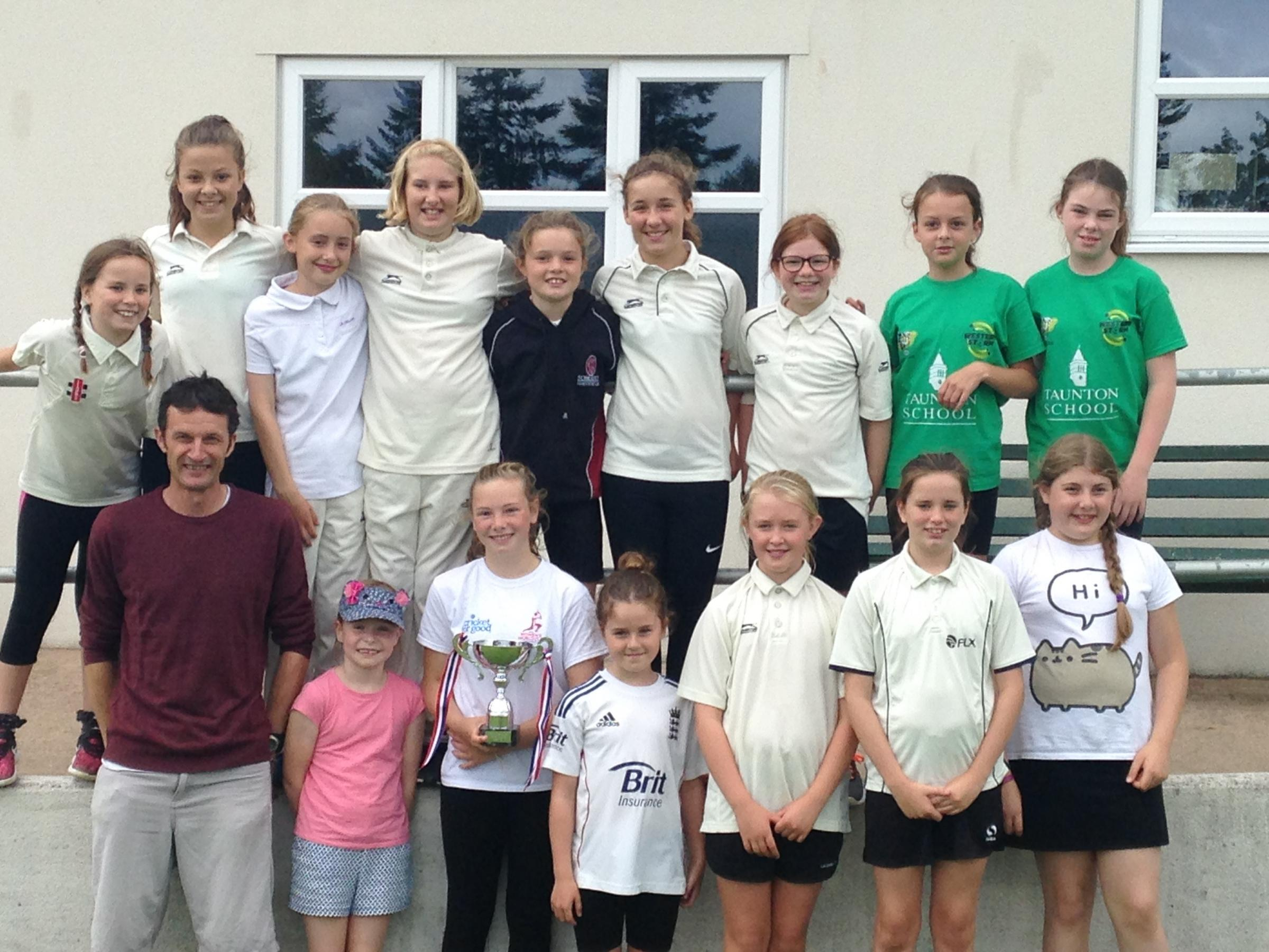 VICTORY: The Girls lifted the Shrubsole Cup at Chard Cricket Club. Pic: Phil Griffiths