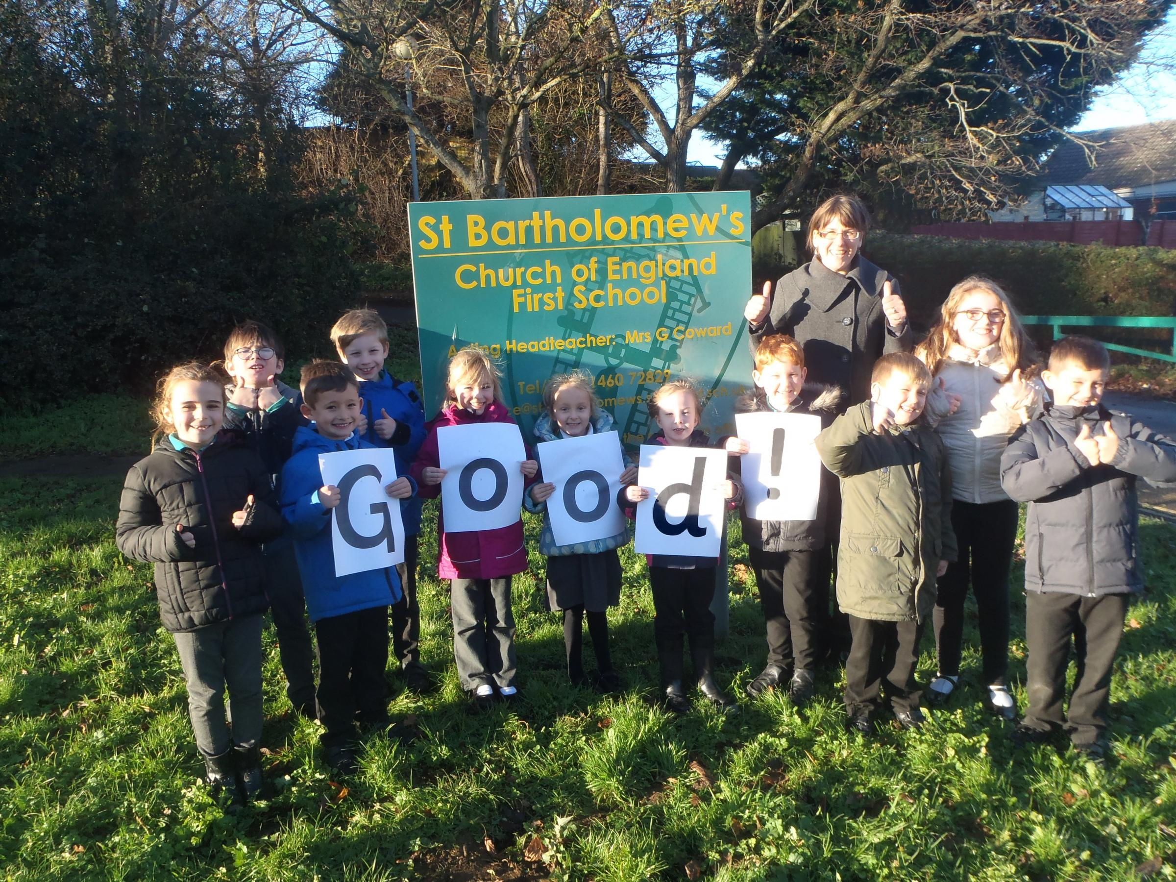 CELEBRATE: Acting headteacher Gemma Coward with the school council